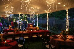 #Charlotte #BBQ #Party #tent #lights #pumpkin #fall #event   event decor by Clarke Allen Group