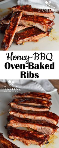 Honey-BBQ Oven-Baked Ribs on Alarm Clock Wars. Make these Honey-BBQ Oven-Baked Ribs right in your own kitchen. Grab some wet wipes. Make all the mess you want, and enjoy! Slow Cooked Oven Ribs, Ribs Recipe Oven, Baked Bbq Ribs, Barbecue Ribs, Pork Ribs, Bbq Ribs Oven, Baking Ribs In Oven, Easy Oven Baked Ribs, Recipes
