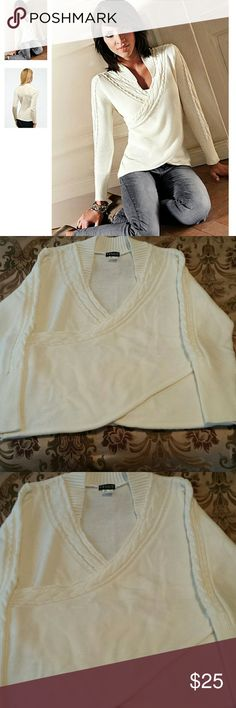 """Wrap Look"" Ivory Sweater by Venus. Size Large. Very pretty ivory sweater by Venus that has the ""wrap look"". Cable knit detailing with ribbed trim. 100% Acrylic. Size large but runs a big big. Worn twice. No stains or holes. In great condition. Venus Sweaters"