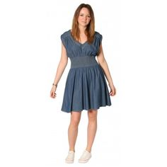 Robe en jean, ceinture élastiquée - denim dress with elasticated panel