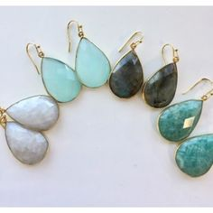 """Isabel Earrings - Faceted gemstone teardrops available in 5 gems, shown are labradorite, seafoam chalcedony (on model), moonstone and amazonite. Also available in clear qtz, 1.5"""" dangles, gold plated over brass, semi-precious gems."""