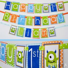 Monster Birthday Party Decorations Banner by PartyGloss on Etsy https://www.etsy.com/listing/259455222/monster-birthday-party-decorations