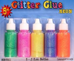 Creative Hobbies® Glitter Glue Squeeze Tubes, Neon Colors, .7 Fl Oz Squeeze Bottles, Non-toxic Ages 6 & Up