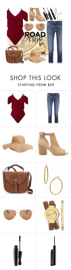 """Road Trip"" by hallaveryh ❤ liked on Polyvore featuring Roland Mouret, 7 For All Mankind, Old Navy, Sole Society, IMoshion, Bony Levy, Carolina Herrera, Nine West, MAC Cosmetics and Bobbi Brown Cosmetics"
