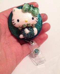 Vintage Mint Green Hello Casting Kitty Id Badge Reel Holder   evezbeadz - Accessories on ArtFire