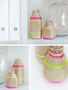 DIY neon string wrapped vases in Crafts for decorating and home decor, parties and events