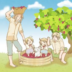 Hetalia ~ France, Canada, America and England