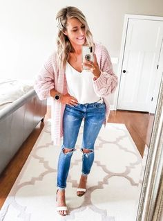 Valentine's day outfit / pink chunky cardigan under $30 / heeled sandals / camisole / pearl barrettes / ripped distressed jeans / gold necklace / stacking necklaces / stacking bracelets / smartwatch #LTKVDay #LTKSeasonal #LTKunder50