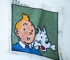 French vintage Tintin Snowy NEEDLEPOINTself made by LeFrenchBazaar