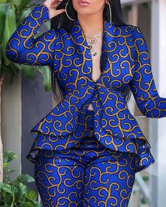 Style:Fashion Pattern Type:Abstract Print Material:Polyester Neckline:Deep V Neck Sleeve Style:Long Sleeve Decoration:Ruffles Length:Regular Occasion:Workwear Package Include:Top & Pant Sets Latest African Fashion Dresses, African Print Fashion, African Dresses For Women, African Attire, African Wear, Trend Fashion, Fashion Outfits, Style Fashion, Ankara Tops Blouses