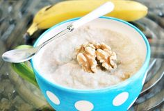 """Banana Bread in a Bowl"" breakfast recipe (with pumpkin and gingerbread options). Low cal, high protein & fiber!"