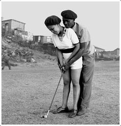 """killerbeesting: """" Jurgen Schadeberg, a lesson in golf, from The Black & White Fifties in South Africa """""""