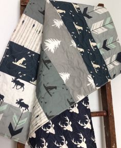 Baby Quilt Boy Dogs Ducks Moose Woodland Bow and by CoolSpool