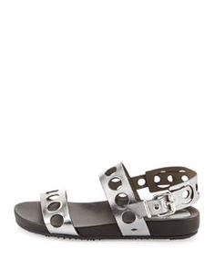 X2E17 Fendi Metallic Banded Hole-Punch Sandal