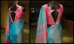 Mirror work blouse for a plain silk saree from Studio 149 by Swathi
