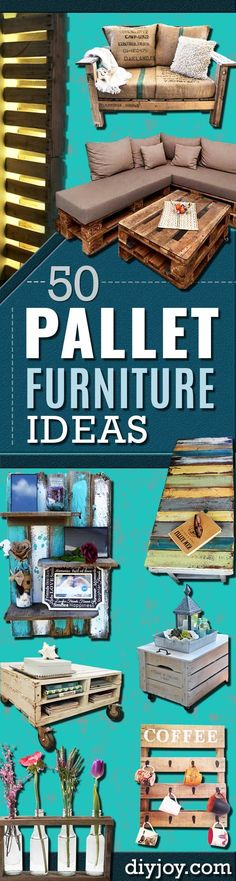 DIY Pallet Furniture Ideas - Best Do It Yourself Projects Made With Wooden Pallets - Indoor and Outdoor Bedroom Living Room Patio. Coffee Table Couch Dining Tables Shelves Racks and Benches Pallet Sofa, Diy Pallet Furniture, Furniture Projects, Diy Projects, Wooden Furniture, Bedroom Furniture, Furniture Storage, Furniture Plans, Diy Indoor Furniture