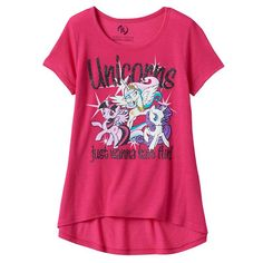 "Girls 7-16 My Little Pony Twilight Sparkle, Rarity & Princess Celestia ""Unicorns Just Wanna Have Fun"" High-Low Glitter Graphic Tee, Girl's, Size:"