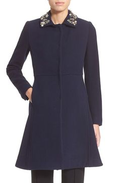 Rebecca Taylor Embellished Collar Fit & Flare Wool Coat available at #Nordstrom