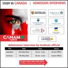 Study in #Canada - Accepting application for Bachelors, UG, PG Programs for September 2016 & January 2017 Intakes. #Studyabroad #StudyinCanada #CanadaStudyVisa #CanamStudentVisa #CanamConsultants #CanamGroup  For complete information & enrolment, Contact CANAM on - 1800-200-5499 or Register Here http://www.canamgroup.com/maileruniversity.php?name=kic