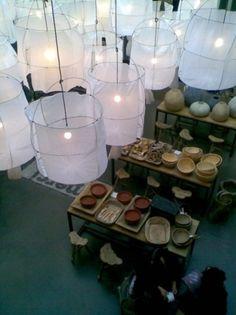 lamp shades in sheer muslin