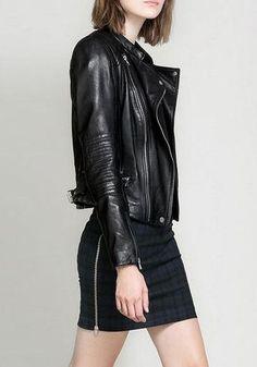 Black on black - leather motorcycle jacket and side-zip mini skirt