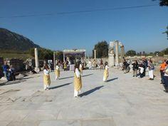 Welcome ceremony at Ephesus Harbour street