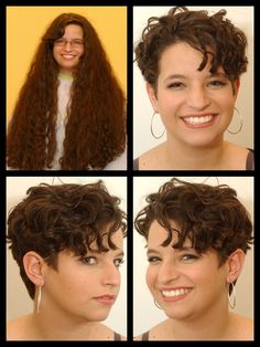 Image result for curly hair pixie cut before and after