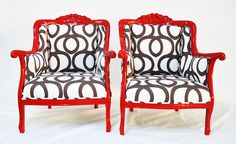 Reserve Listing FOR Gretchen: Red Armchairs with Cotton Geometric