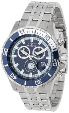 Men's Wrist Watches - Invicta Mens 13649 Pro Diver Chronograph Navy Blue Dial Stainless Steel Watch -- Check out the image by visiting the link. (This is an Amazon affiliate link)