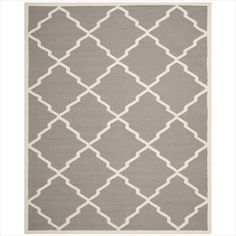 Safavieh DHU567A Dhurrie Collection Handmade Wool Area Rug, 9 by 12-Feet, Grey and Ivory Safavieh