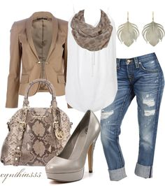 """""""Jeans and a Blazer"""" by cynthia335 ❤ liked on Polyvore"""