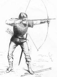 """Descrizione dell'arco lungo chiamato """"Long Bow"""", che portò in un primo momento gli inglesi in vantaggio.  Nell'immagine: soldato che maneggia il Long Bow"""