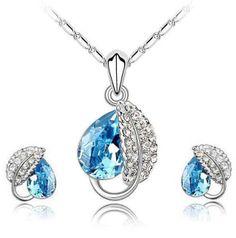 Versandkostenfrei Groß-und Einzelhandel kristall mode blattsilber halskette ohrringe 6 farben aus kristall und silber m001