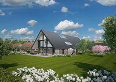 De nieuw ontworpen woning vanaf de tuin