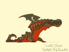 ワニのようなドラゴン。婚姻色。