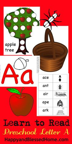 "FREE Preschool Alphabet Printables - Learn to Read Letter ""A"" words from Happy and Blessed Home - over 18 FREE preK Activities"