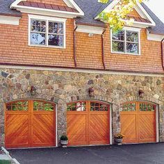 All About Garage Doors - This Old House Traditional Home Exteriors, Traditional House, Wood Arch, Wood Doors, Cedar Garage Door, Carriage Doors, Carriage House, Garage Door Makeover, Roller Doors