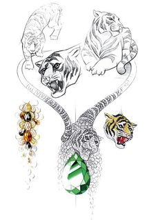 Sketch of the tiger necklace produced in connection with Chopard's support of the WWF.