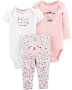 Carter's Baby Girls 3 Piece Floral Little Character Set. Detailed with an allover floral pattern, this infant girls' set by Carter's provides fun styling options in super-soft cotton. Baby Outfits, Toddler Outfits, Baby Set, Fashion Kids, Toddler Fashion, Tommy Hilfiger, Floral Print Pants, Baby Pants, Ralph Lauren