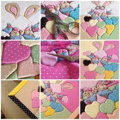 Varias fases do trabalho de patchwork embutido.