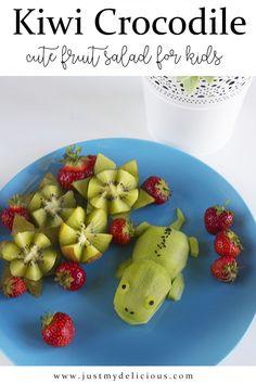 Krokodyl z Kiwi - Just My Delicious Breakfast Snacks, Breakfast For Kids, Salads For Kids, Funny Fruit, Food Art For Kids, Cute Food, Kiwi, Fruit Salad, Food Styling
