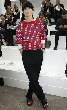 Breezy and classy: Stella Tennant at the Chanel show in Paris. Photograph: Michel Dufour/WireImage