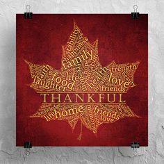 Thanksgiving Word Art Autumn Decor Fall Maple Leaf by ImageToArt