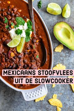 Looking for slow cooker recipes in Dutch? - Looking for slow cooker recipes in Dutch? Then make this recipe for Mexican stew from the slow cook - Veggie Recipes, Mexican Food Recipes, Cooking Recipes, Healthy Recipes, Slow Cooker Recepies, Crock Pot Slow Cooker, Nachos, Mexican Stew, Guacamole