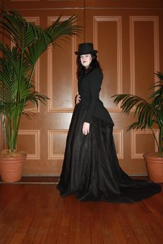 """""""Victorian Riding Habit    Materials-  Skirt - linen, tulle  undergarments - cotton, steel hooping    The jacket and top hat were purchased. The skirt was made using a Truly Victorian Pattern. It was made in a bit of a rush, so I've yet to add tapes at the back to bustle up the hem. A versatile addition to my Victorian wardrobe"""""""