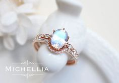 Rose Gold Moonstone Engagement Ring with by MichelliaDesigns