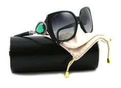 Bvlgari Oversized Stone Embellished Sunglasses - Black Pearl With Emerald Stone, Grey Gradient Lens  Bulgari.  Aim high, right?  Lol.