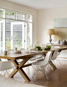 dining-room-contemporary-complete-in-light-wood-and-chairs-in-plastic-beig … – rnrnSource by hannelorefritsch Dining Room Design, Dining Table, Dining Room Decor, Dining Room Contemporary, Country Dining Tables, Country Dining, French Country Dining Room Table, Farmhouse Dining Room Table, Dining Room Table Decor