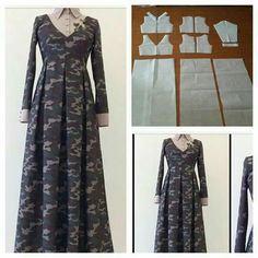 We make it two piece tops. Order via line: modelliste Gamis shirt pattern. We make it two piece tops. Order via line: modelliste … Motif Abaya, Abaya Pattern, Abaya Style, Sewing Clothes, Diy Clothes, Clothes For Women, Dress Sewing Patterns, Clothing Patterns, Abaya Mode