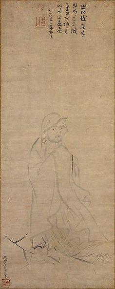 元 李堯夫 蘆葉達摩圖 軸 Bodhidharma crossing the Yangzi River on a reed Artist: Li Yaofu (Chinese, active ca. 1300) Period: Yuan dynasty (1271–1368) Date: before 1317